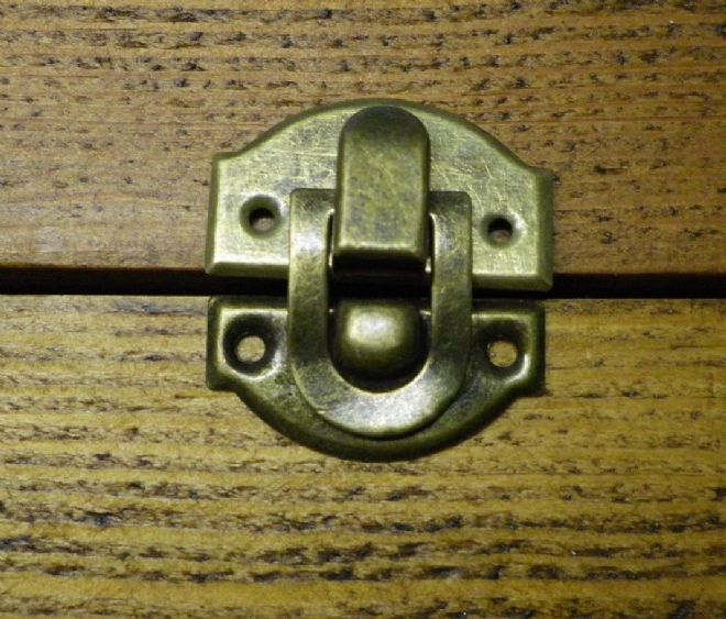 NEW Pair of metal buckles catches latches for small box etc bronze finish C026
